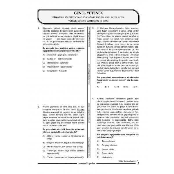GENEL YETENEK GENEL KÜLTÜR 5'Lİ DENEME – 4-1