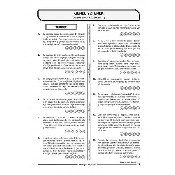 GENEL YETENEK GENEL KÜLTÜR 5'Lİ DENEME – 8-1